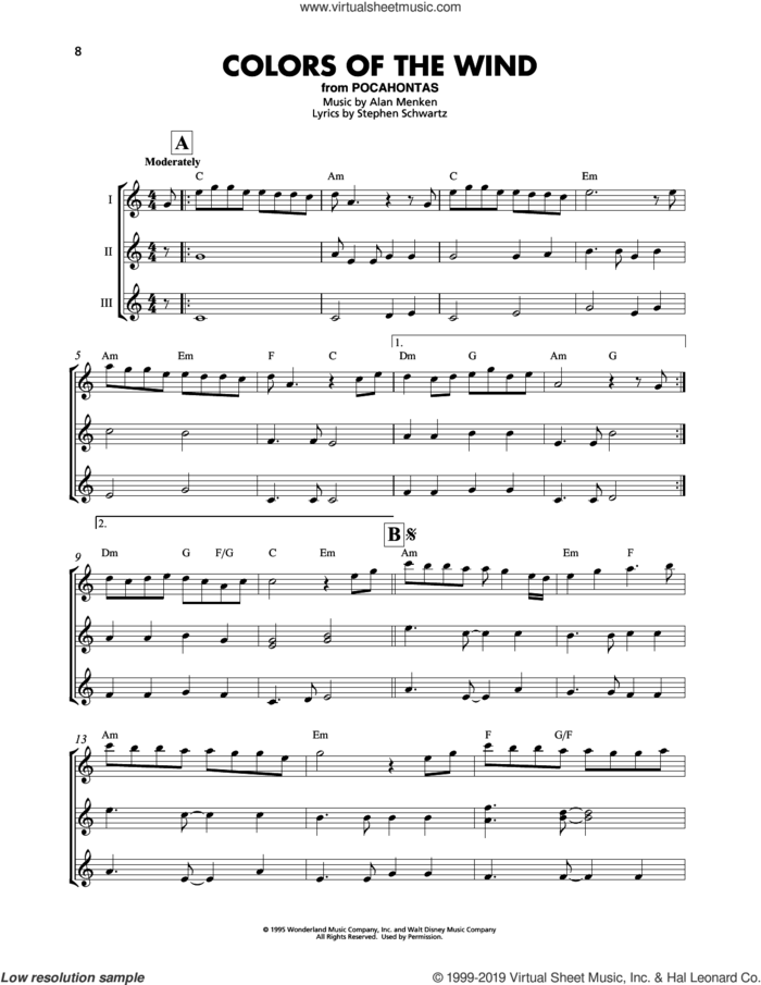 Colors Of The Wind (from Pocahontas) sheet music for ukulele ensemble by Vanessa Williams, Alan Menken and Stephen Schwartz, intermediate skill level