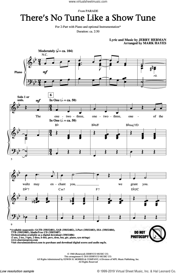 There's No Tune Like A Show Tune (arr. Mark Hayes) sheet music for choir (2-Part) by Jerry Herman and Mark Hayes, intermediate duet