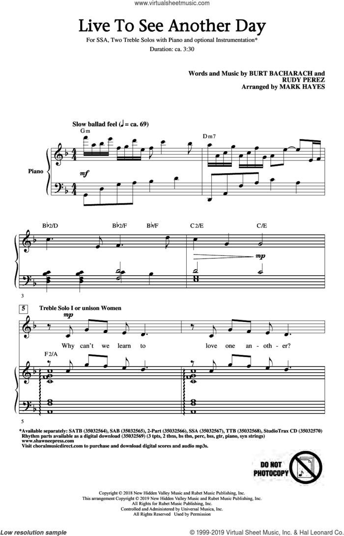 Live To See Another Day (arr. Mark Hayes) sheet music for choir (SSA: soprano, alto) by Burt Bacharach & Rudy Perez, Mark Hayes, Burt Bacharach and Rudy Perez, intermediate skill level