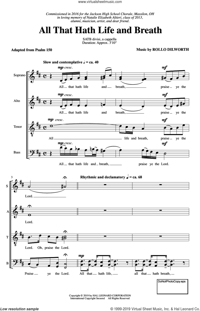 All That Hath Life And Breath sheet music for choir (SATB: soprano, alto, tenor, bass) by Rollo Dilworth and Traditional Psalm, intermediate skill level