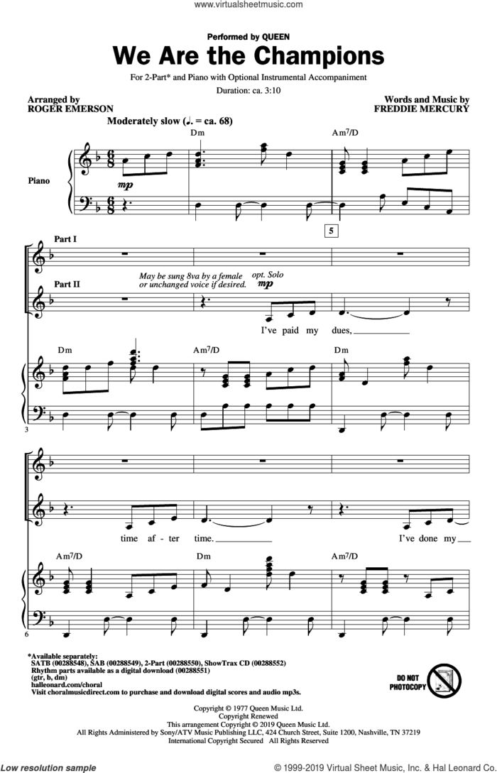 We Are The Champions (arr. Roger Emerson) sheet music for choir (2-Part) by Freddie Mercury, Roger Emerson and Queen, intermediate duet