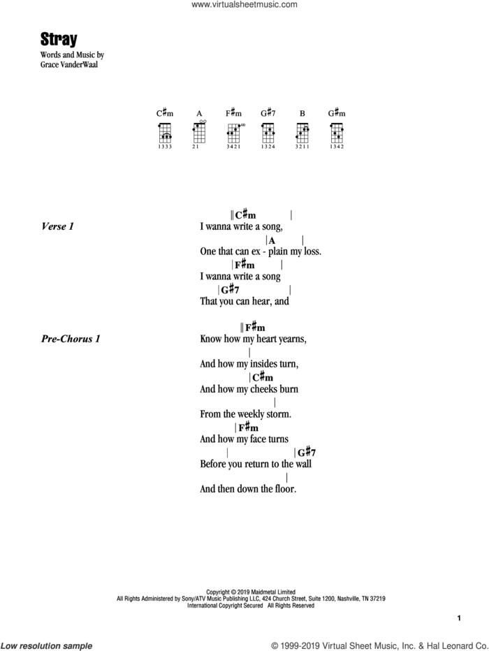 Stray sheet music for ukulele (chords) by Grace VanderWaal, intermediate skill level
