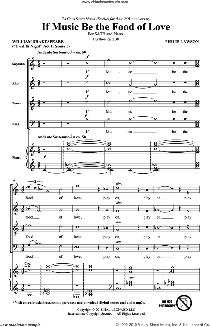 If Music Be The Food Of Love sheet music for choir (SATB: soprano, alto, tenor, bass) by Philip Lawson and William Shakespeare, intermediate skill level