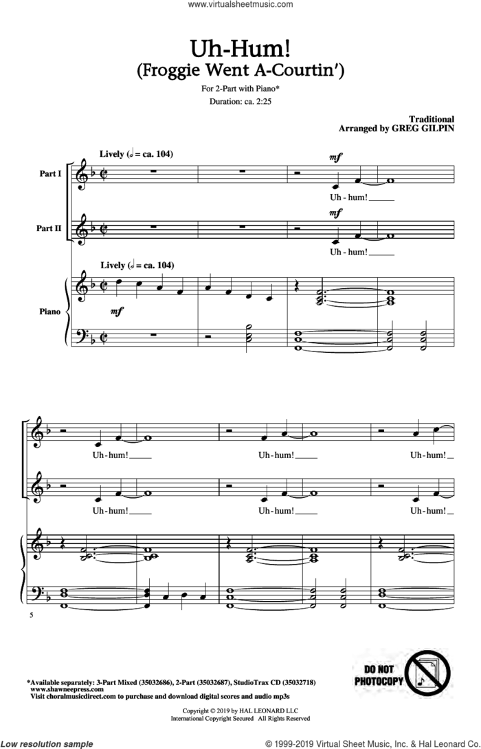 Uh-Hum! (Froggie Went A-Courtin') sheet music for choir (2-Part) by Greg Gilpin and Miscellaneous, intermediate duet