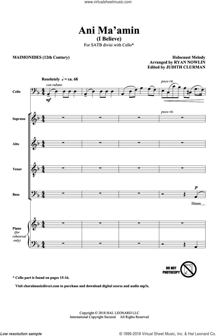 Ani Ma'Amin sheet music for choir (SATB: soprano, alto, tenor, bass) by Ryan Nowlin and 13th Century Text, intermediate skill level