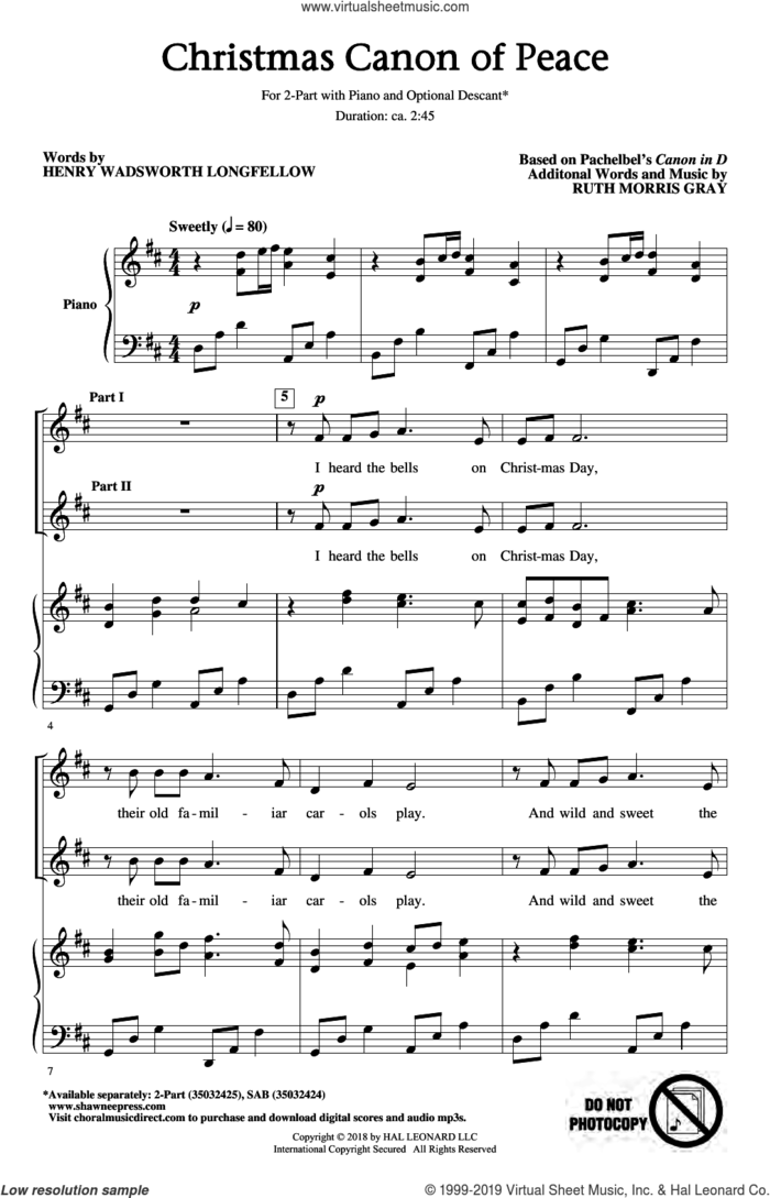 Christmas Canon Of Peace (arr. Ruth Morris Gray) sheet music for choir (2-Part) by Ruth Morris Gray, Henry Wadsworth Longfellow and Johann Pachelbel, intermediate duet