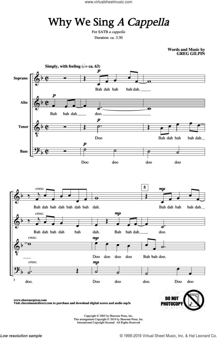 Why We Sing sheet music for choir (SATB: soprano, alto, tenor, bass) by Greg Gilpin, intermediate skill level