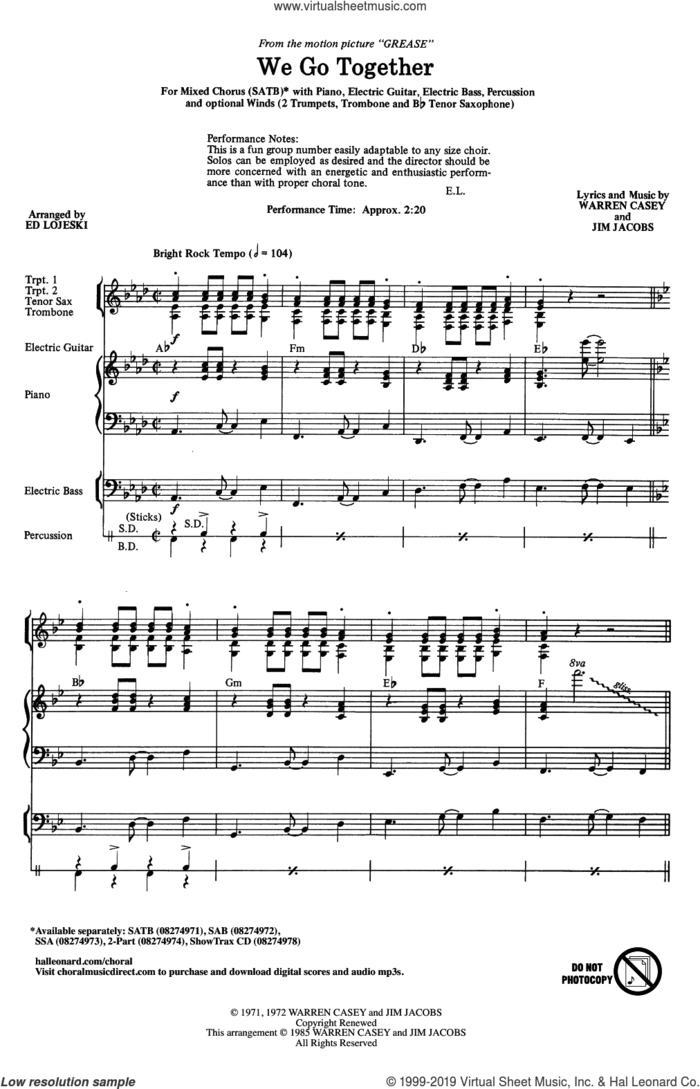 We Go Together (from Grease) (arr. Ed Lojeski) sheet music for choir (SATB: soprano, alto, tenor, bass) by Jim Jacobs, Ed Lojeski, Jim Jacobs & Warren Casey and Warren Casey, intermediate skill level