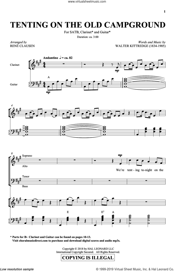 Tenting On The Old Campground sheet music for choir (SATB: soprano, alto, tenor, bass) by Rene Clausen and Walter Kittredge, intermediate skill level