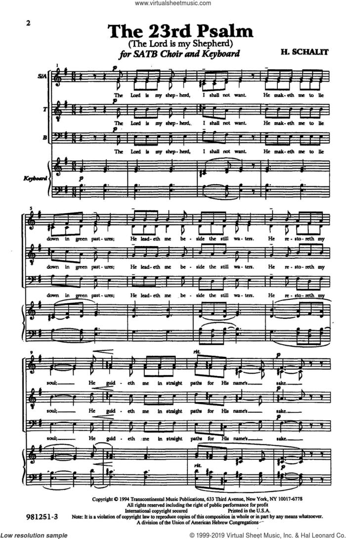 The 23rd Psalm sheet music for choir (SATB: soprano, alto, tenor, bass) by Heinrich Schalit, classical score, intermediate skill level