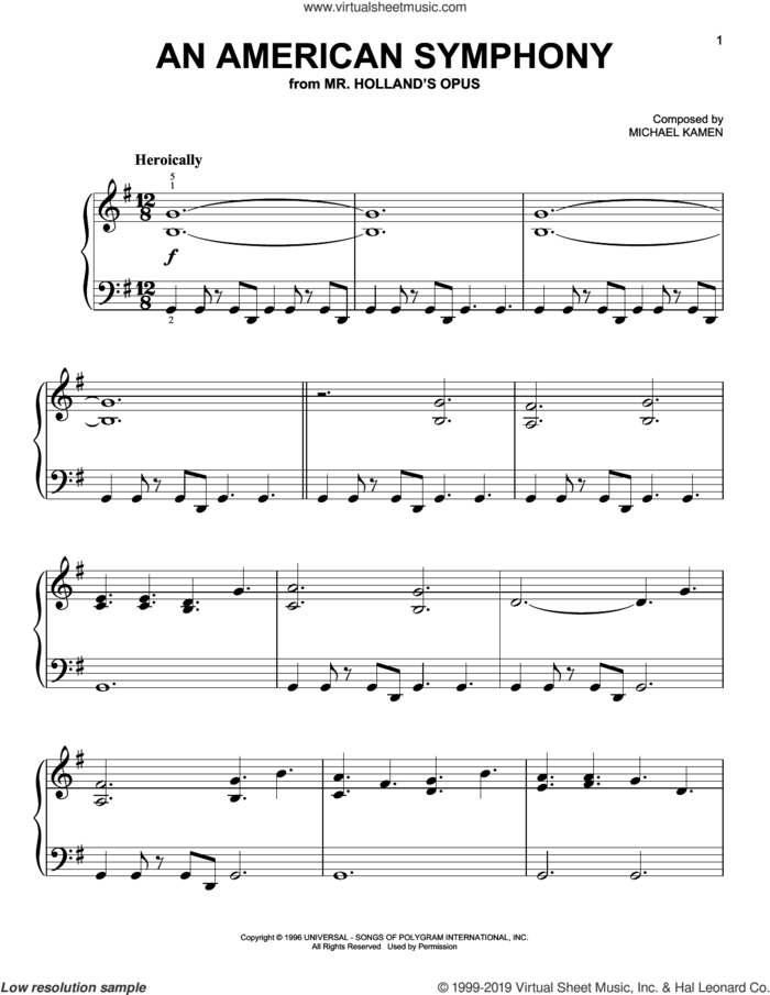 An American Symphony sheet music for piano solo by Michael Kamen, easy skill level