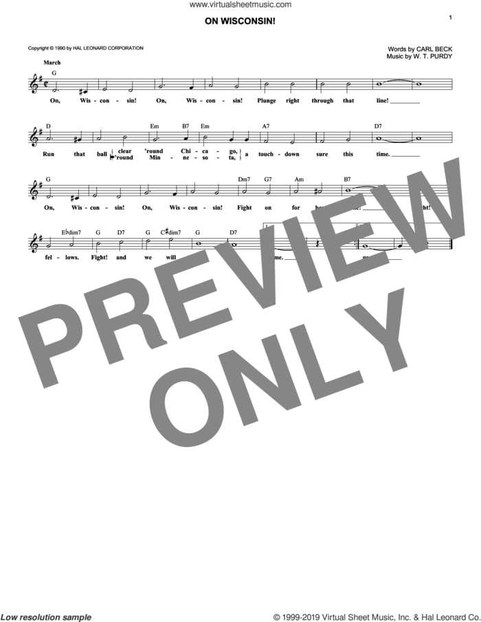 On Wisconsin! sheet music for voice and other instruments (fake book) by Carl Beck and W.T. Purdy, intermediate skill level