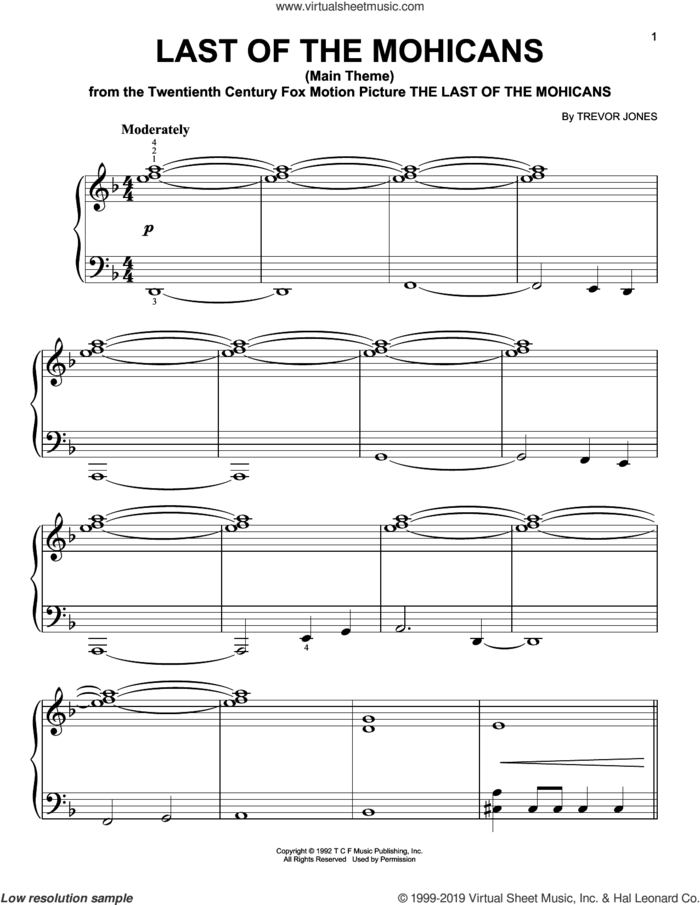 Last Of The Mohicans (Main Theme) sheet music for piano solo by Trevor Jones, easy skill level