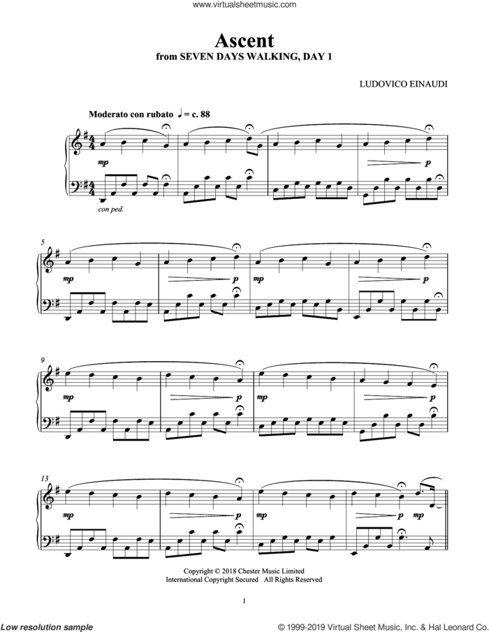 Ascent (from Seven Days Walking: Day 1) sheet music for piano solo by Ludovico Einaudi, classical score, intermediate skill level