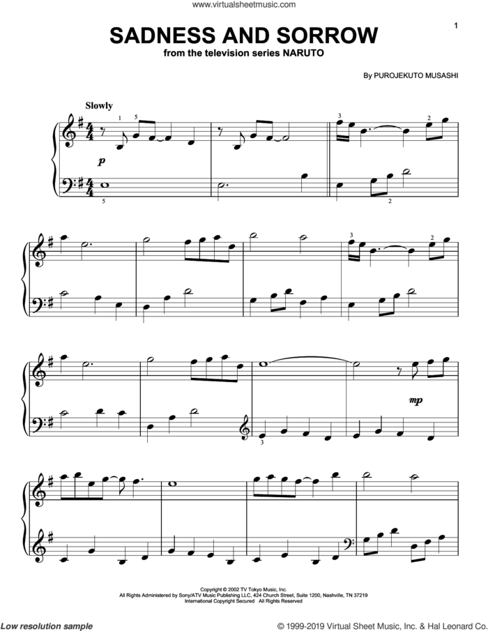 Sadness And Sorrow (from Naruto), (easy) sheet music for piano solo by Taylor Davis and Purojekuto Musashi, easy skill level