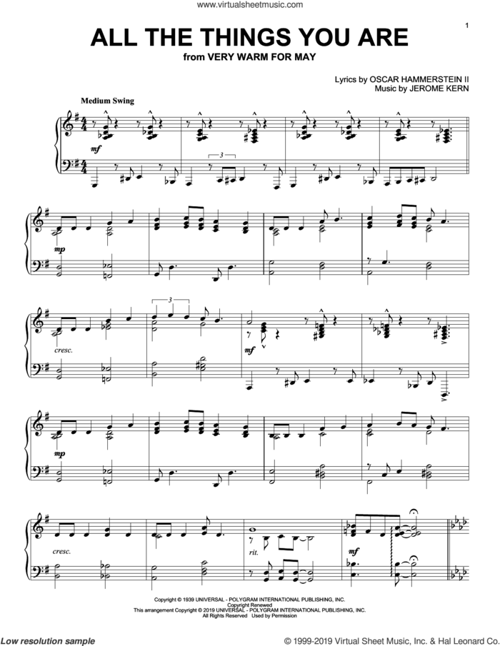 All The Things You Are sheet music for piano solo by Jack Leonard with Tommy Dorsey Orchestra, Jerome Kern and Oscar II Hammerstein, intermediate skill level