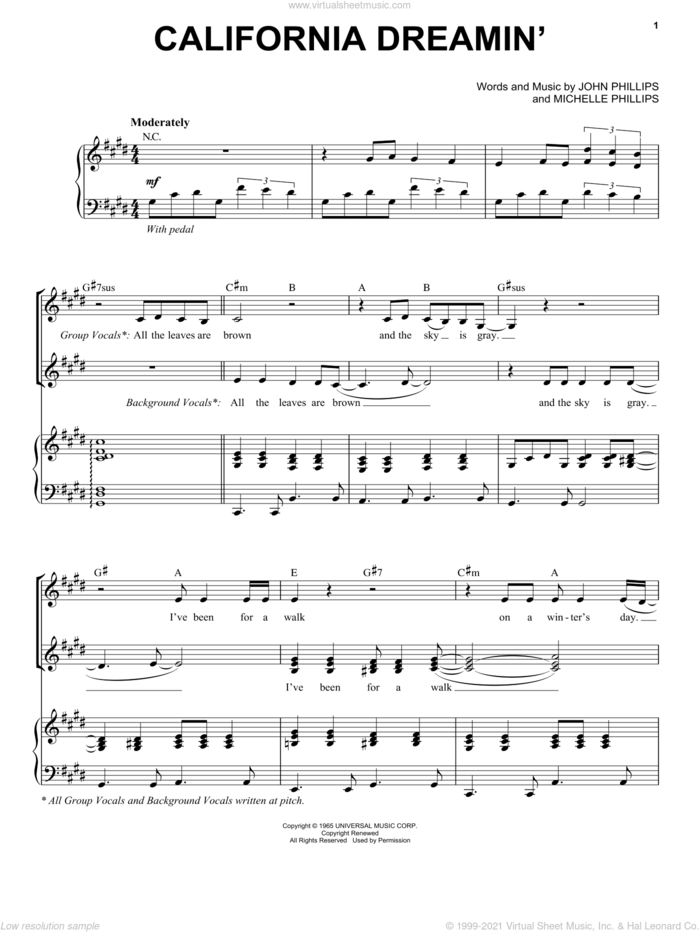 California Dreamin' sheet music for voice and piano by The Mamas & The Papas, John Phillips and Michelle Phillips, intermediate skill level