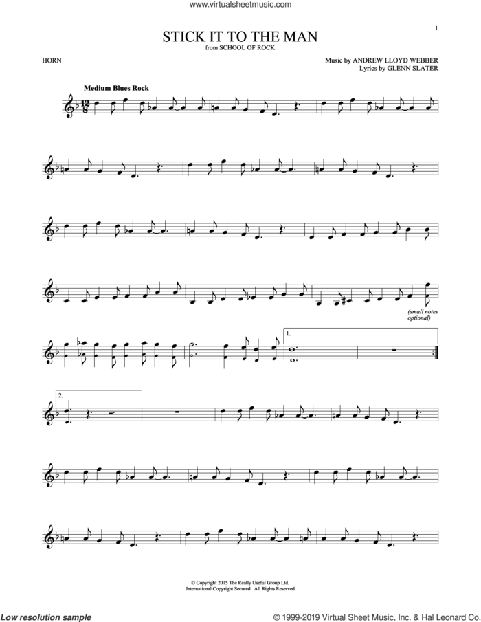 Stick It To The Man (from School of Rock: The Musical) sheet music for horn solo by Andrew Lloyd Webber and Glenn Slater, intermediate skill level