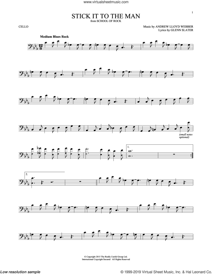 Stick It To The Man (from School of Rock: The Musical) sheet music for cello solo by Andrew Lloyd Webber and Glenn Slater, intermediate skill level