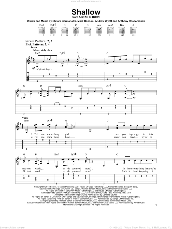 Shallow (from A Star Is Born) sheet music for guitar solo (easy tablature) by Lady Gaga & Bradley Cooper, Bradley Cooper, Andrew Wyatt, Anthony Rossomando, Lady Gaga and Mark Ronson, easy guitar (easy tablature)