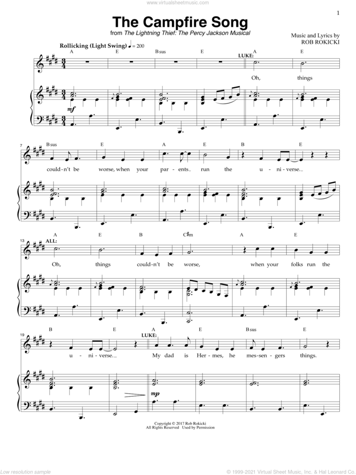 The Campfire Song (from The Lightning Thief: The Percy Jackson Musical) sheet music for voice and piano by Rob Rokicki, intermediate skill level