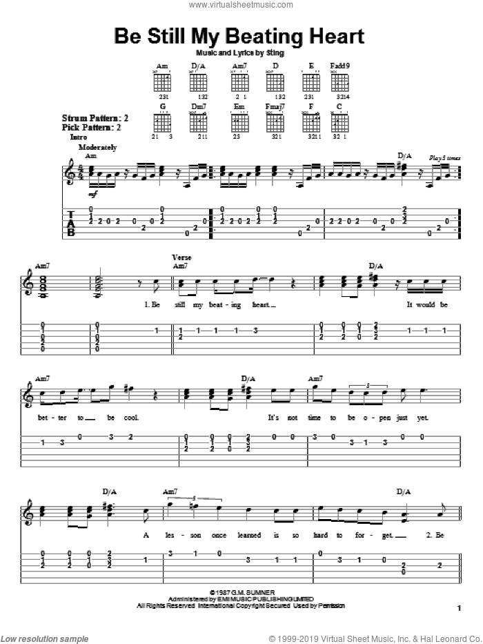Be Still My Beating Heart sheet music for guitar solo (easy tablature) by Sting, easy guitar (easy tablature)