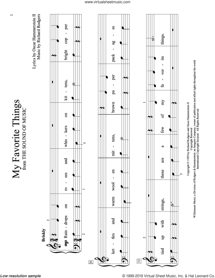 My Favorite Things (from The Sound of Music) (arr. Christopher Hussey) sheet music for piano solo (elementary) by Richard Rodgers, Christopher Hussey, Lorrie Morgan, Oscar II Hammerstein and Rodgers & Hammerstein, beginner piano (elementary)