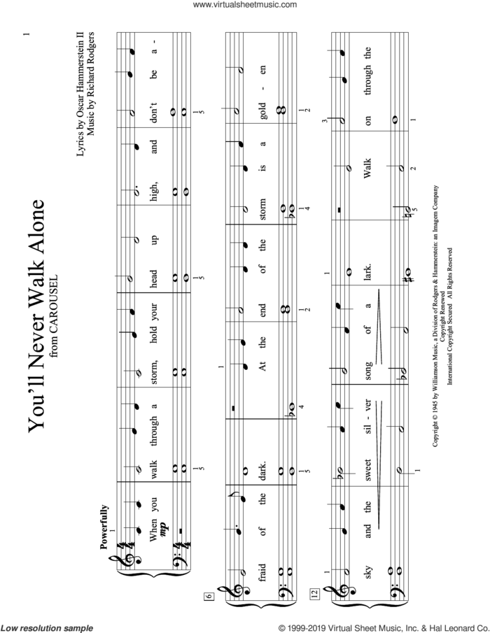 You'll Never Walk Alone (from Carousel) (arr. Christopher Hussey) sheet music for piano solo (elementary) by Richard Rodgers, Christopher Hussey, Oscar II Hammerstein and Rodgers & Hammerstein, beginner piano (elementary)