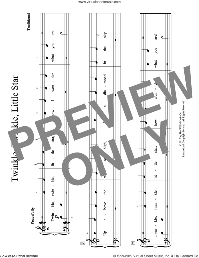 Twinkle, Twinkle, Little Star (arr. Christopher Hussey) sheet music for piano solo (elementary)  and Christopher Hussey, beginner piano (elementary)