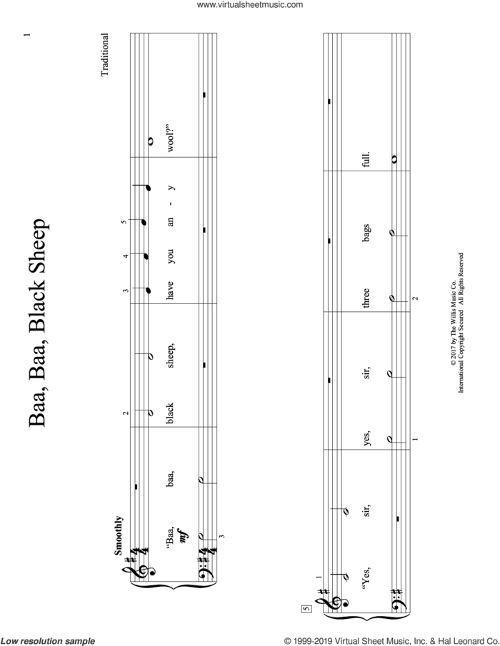 Baa, Baa, Black Sheep (arr. Christopher Hussey) sheet music for piano solo (elementary)  and Christopher Hussey, beginner piano (elementary)