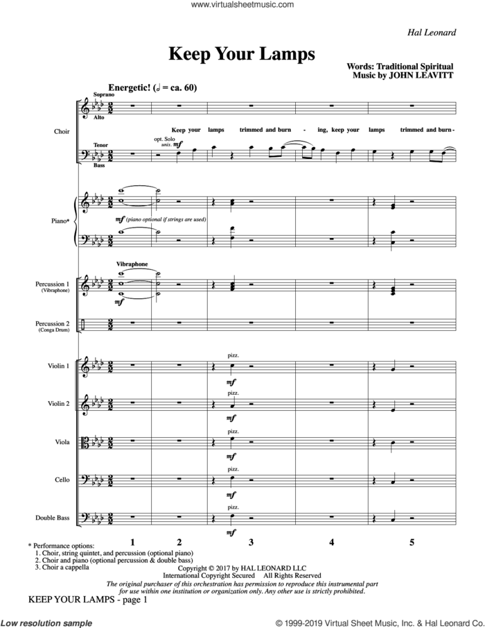 Keep Your Lamps (COMPLETE) sheet music for orchestra/band by John Leavitt and Miscellaneous, intermediate skill level