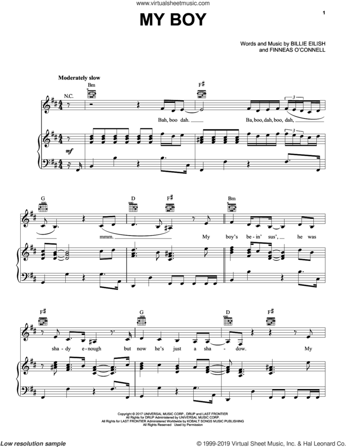 my boy sheet music for voice, piano or guitar by Billie Eilish, intermediate skill level