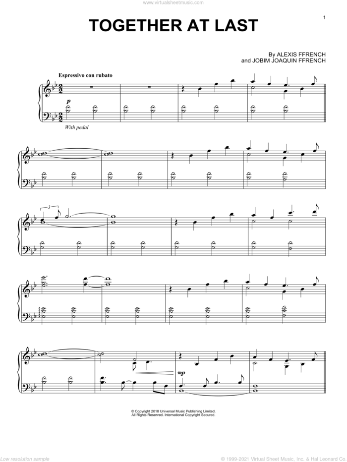 Together At Last sheet music for piano solo by Alexis Ffrench, Alexis Ffrench & Jobim Joaquin Ffrench and Jobim Joaquin Ffrench, classical score, intermediate skill level
