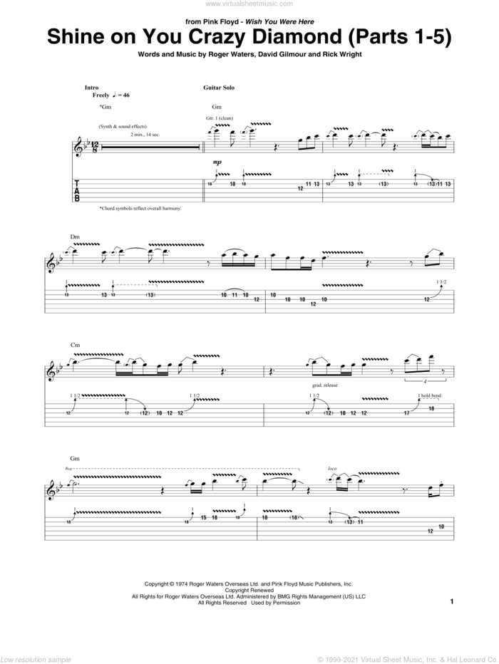 Shine On You Crazy Diamond (Parts 1-5) sheet music for guitar (tablature) by Pink Floyd, David Gilmour, Richard Wright and Roger Waters, intermediate skill level