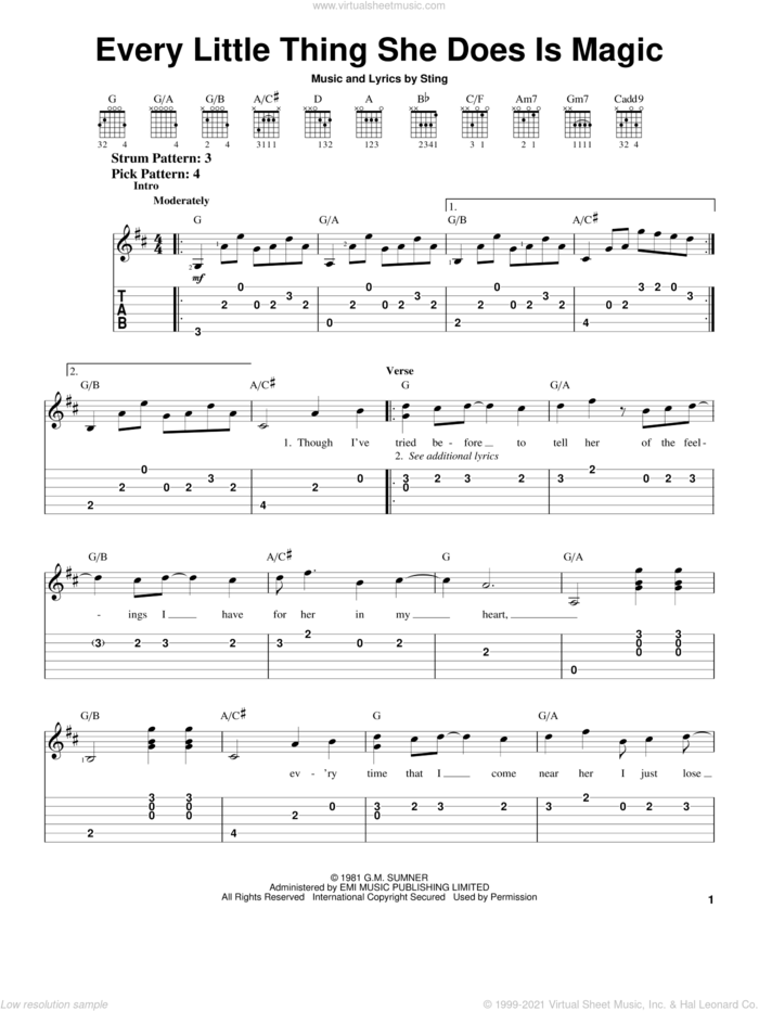 Every Little Thing She Does Is Magic sheet music for guitar solo (easy tablature) by The Police and Sting, easy guitar (easy tablature)