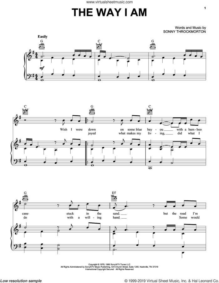 The Way I Am sheet music for voice, piano or guitar by Merle Haggard and Sonny Throckmorton, intermediate skill level