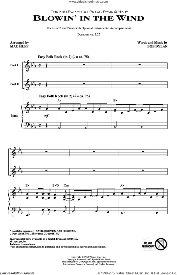Blowin' In The Wind (arr. Mac Huff) sheet music for choir (2-Part) by Peter, Paul & Mary, Mac Huff and Bob Dylan, intermediate duet