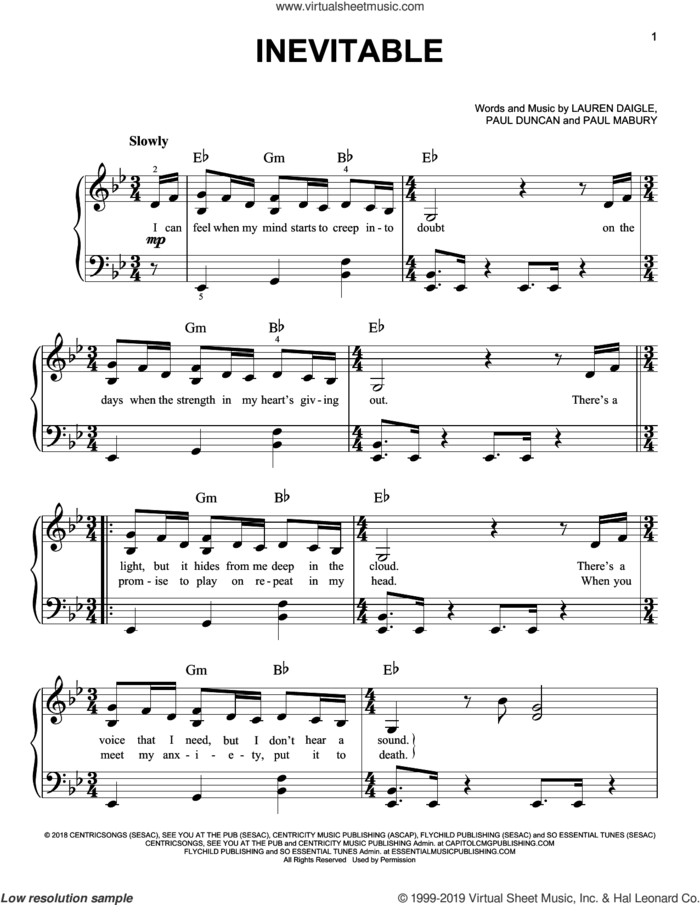 Inevitable sheet music for piano solo by Lauren Daigle, Paul Duncan and Paul Mabury, easy skill level
