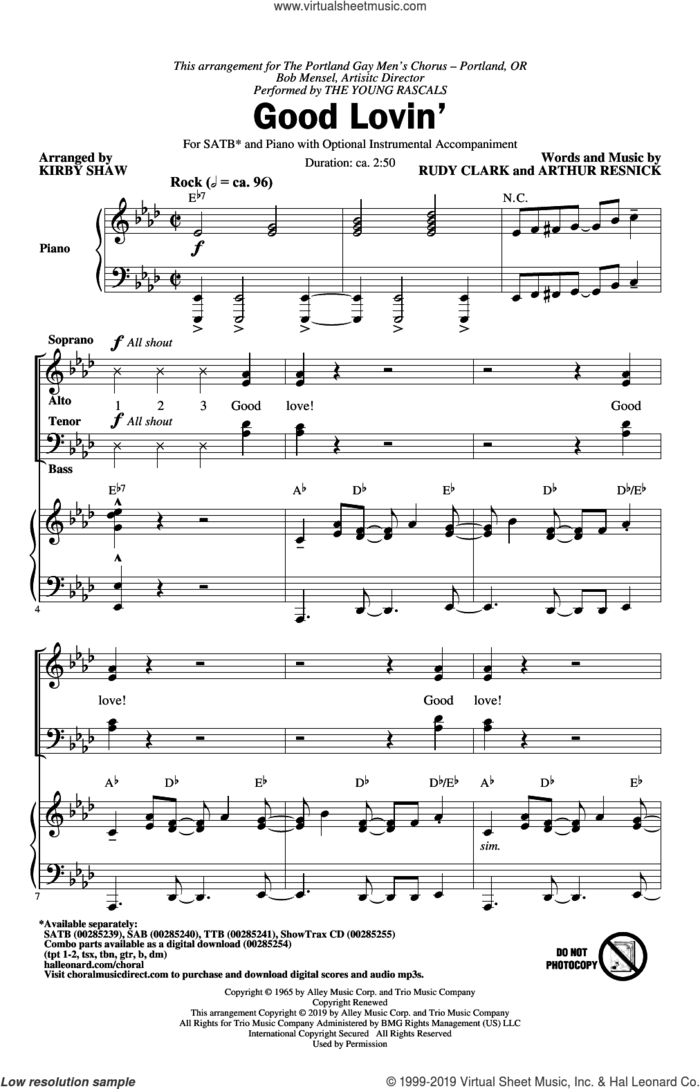 Good Lovin' (arr. Kirby Shaw) sheet music for choir (SATB: soprano, alto, tenor, bass) by The Young Rascals, Kirby Shaw, Arthur Resnick and Rudy Clark, intermediate skill level
