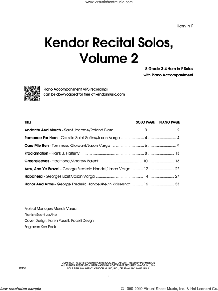 Kendor Recital Solos, Volume 2 - Horn in F With Piano Accompaniment and MP3's (complete set of parts) sheet music for horn and piano, intermediate skill level