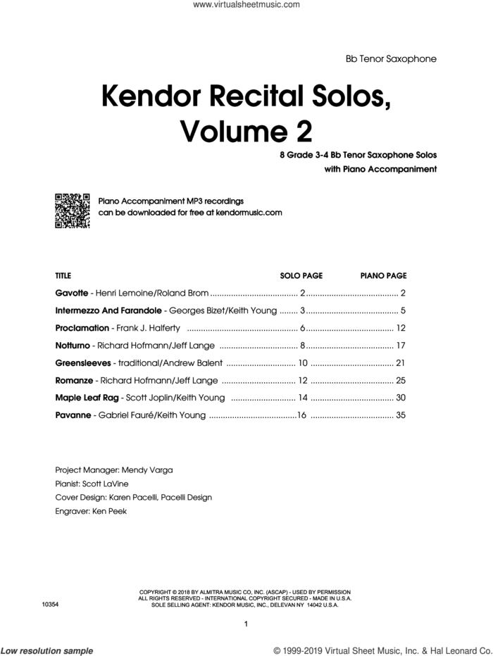 Kendor Recital Solos, Volume 2 - Bb Tenor Saxophone With Piano Accompaniment and MP3s (complete set of parts) sheet music for tenor saxophone and piano, intermediate skill level