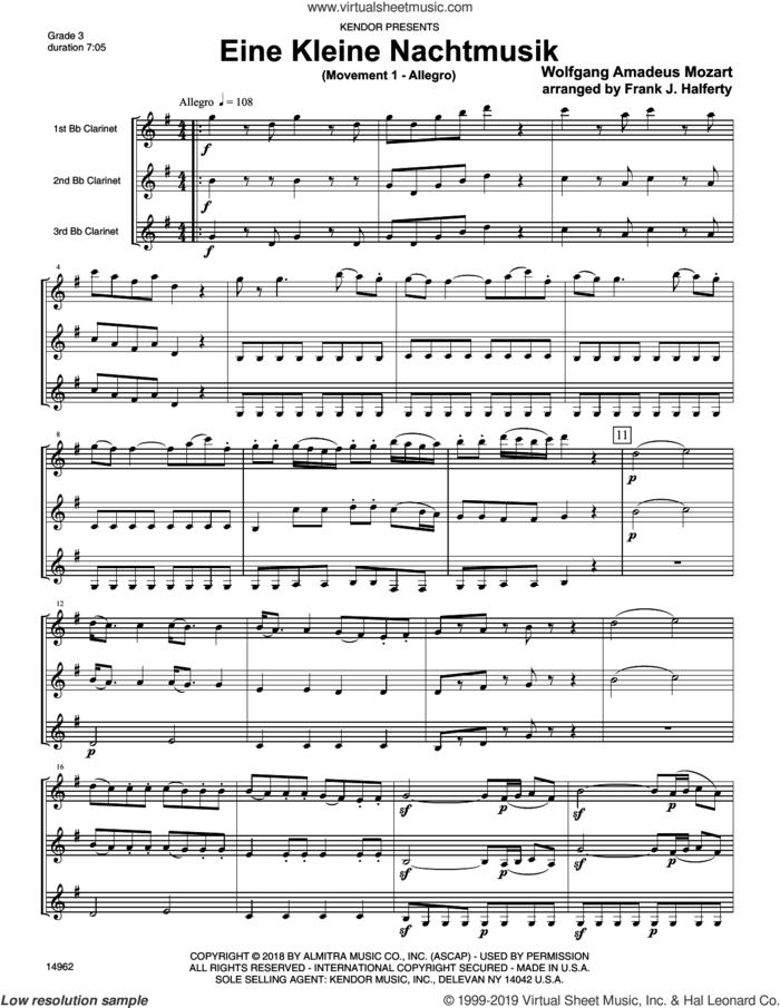 Eine Kleine Nachtmusik (Movement 1 - Allegro) (arr. Frank. J. Halferty) (COMPLETE) sheet music for clarinet trio by Wolfgang Amadeus Mozart and Frank J. Halferty, classical score, intermediate skill level