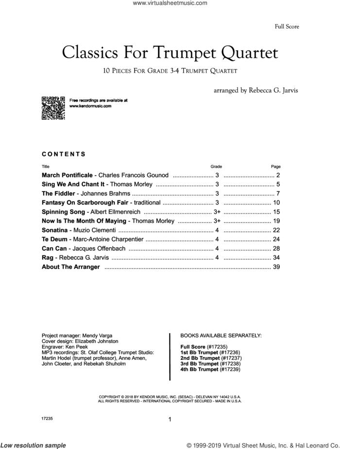Classics For Trumpet Quartet - Full Score sheet music for trumpet quartet (full score) by Rebecca G. Jarvis, intermediate skill level