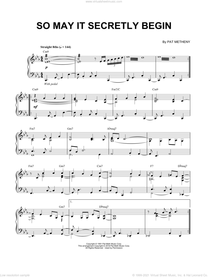 So May It Secretly Begin sheet music for piano solo by Pat Metheny, intermediate skill level