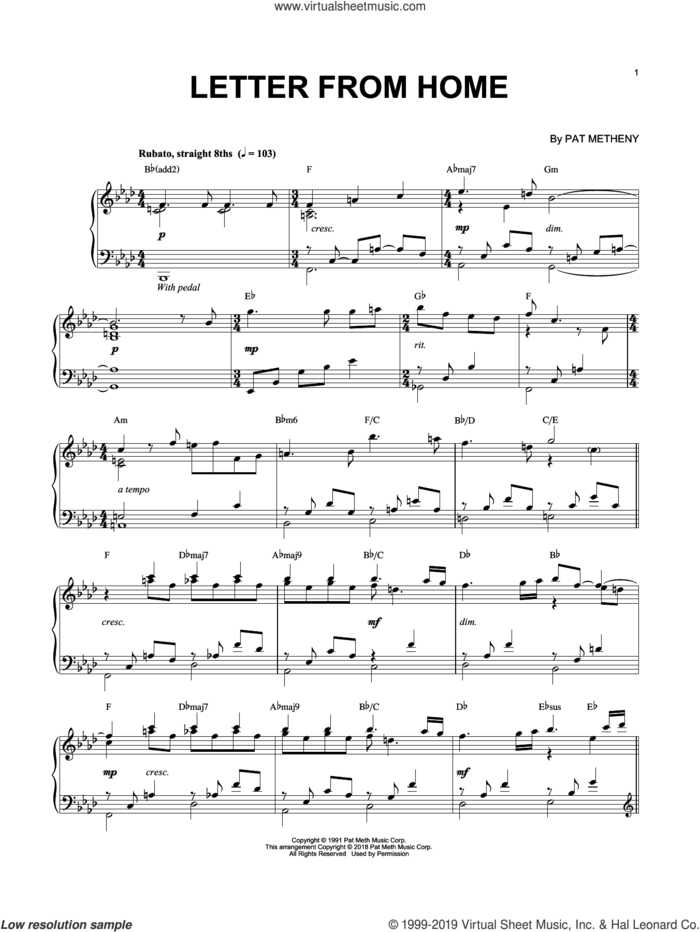 Letter From Home sheet music for piano solo by Pat Metheny, intermediate skill level