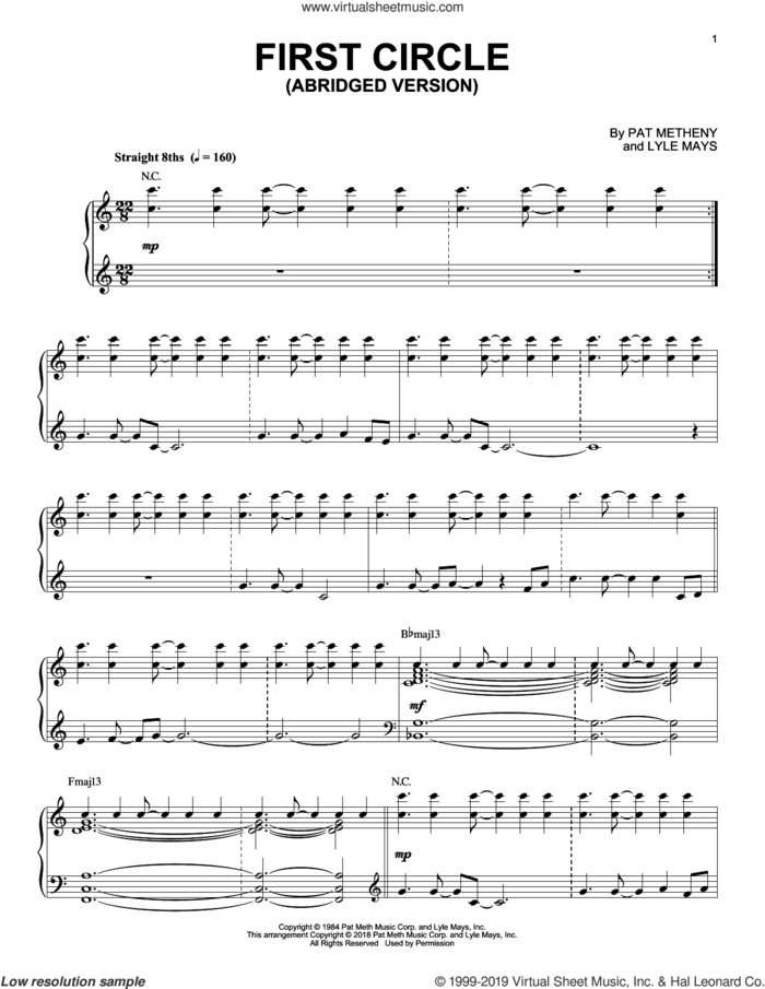 First Circle sheet music for piano solo by Pat Metheny and Lyle Mays, intermediate skill level