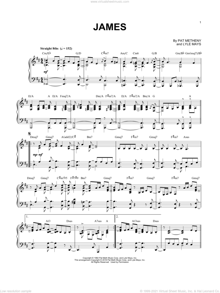 James sheet music for piano solo by Pat Metheny and Lyle Mays, intermediate skill level