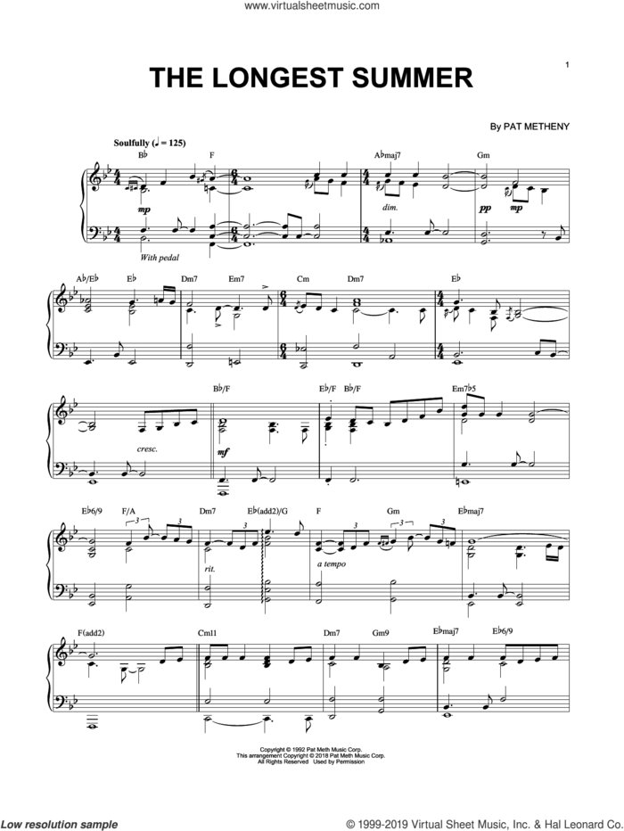 The Longest Summer sheet music for piano solo by Pat Metheny, intermediate skill level