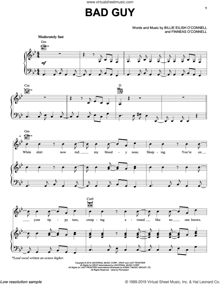 bad guy sheet music for voice, piano or guitar by Billie Eilish, intermediate skill level