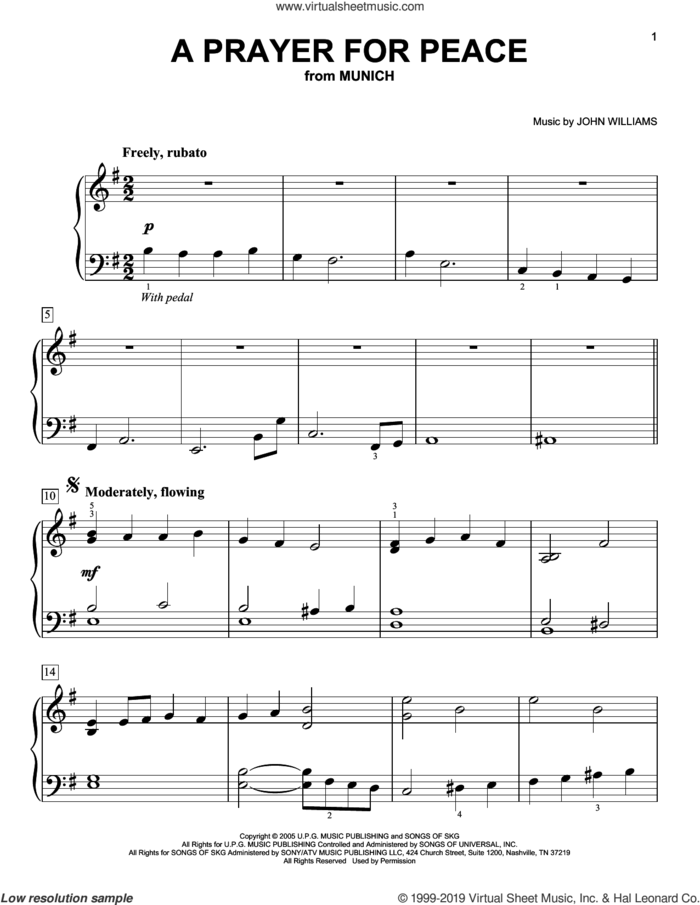 A Prayer For Peace (from Munich) sheet music for piano solo by John Williams, easy skill level